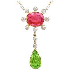 Antique 1900s Tourmaline, Peridot, and Diamond Yellow Gold Necklace