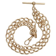 Antique 1900s Yellow Gold Double Albert Watch Chain with T Bar