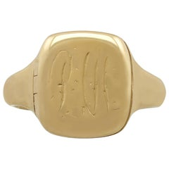 Antique 1900s Yellow Gold Signet Ring with Enamel