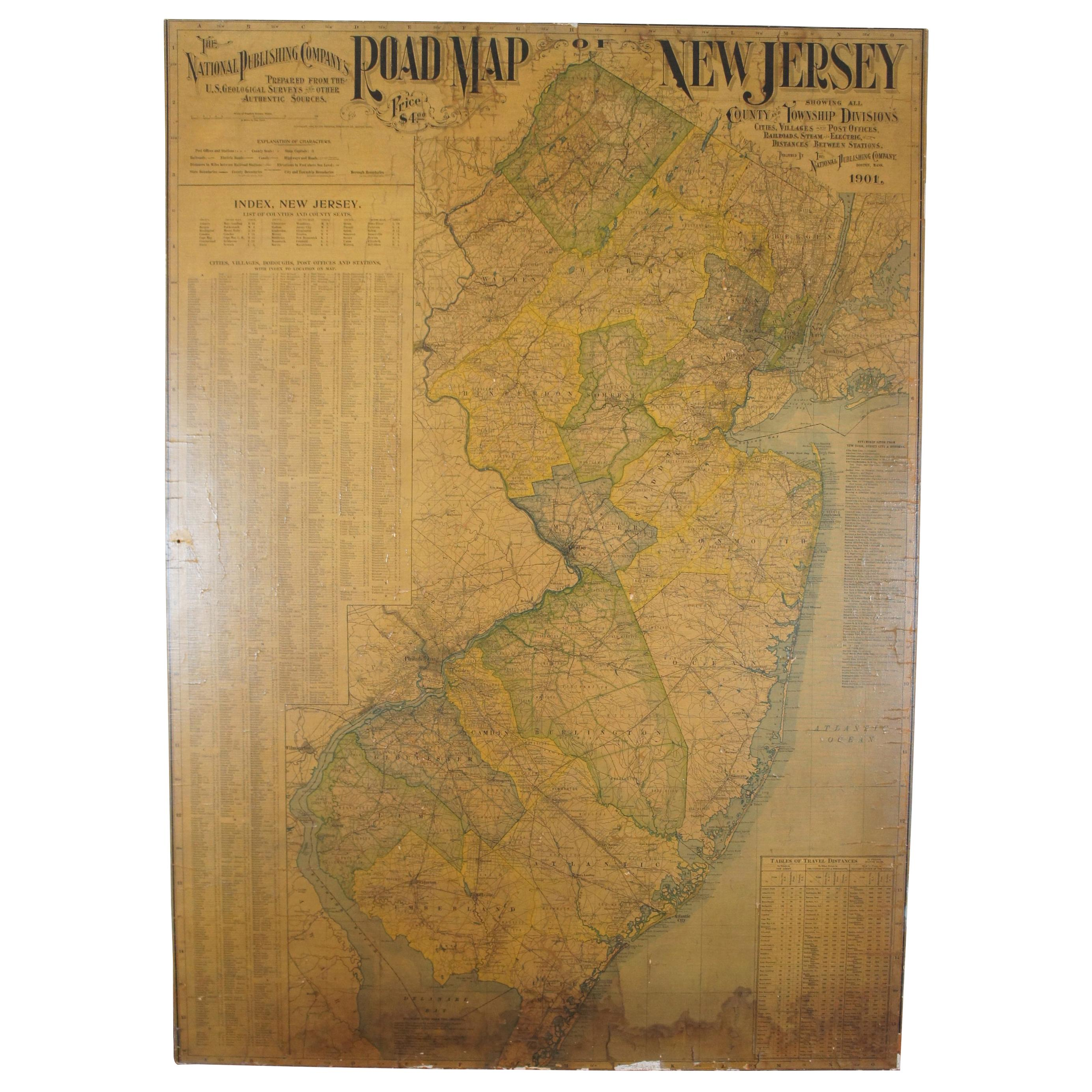 Antique 1901 National Publishing Company's Road Map of New Jersey Geological