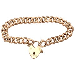 Antique 1901 Yellow Gold Curb Bracelet with Heart Padlock Clasp