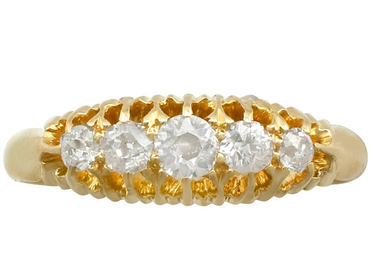 Edwardian Antique 1905 Diamond and Yellow Gold Five-Stone Cocktail Ring For Sale