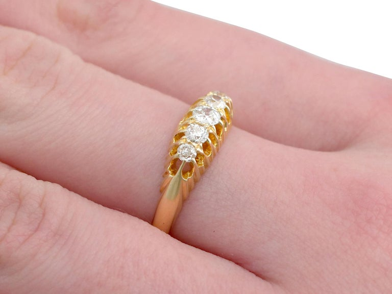 Antique 1905 Diamond and Yellow Gold Five-Stone Cocktail Ring For Sale 1