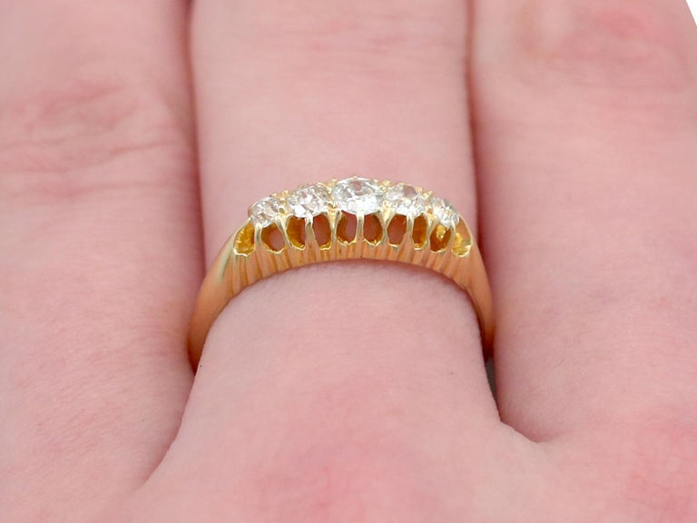 Antique 1905 Diamond and Yellow Gold Five-Stone Cocktail Ring For Sale 2