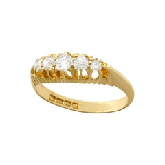 Antique 1905 Diamond and Yellow Gold Five-Stone Cocktail Ring