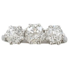 Antique 1.91 Carat Diamond and Platinum Trilogy Ring, circa 1920