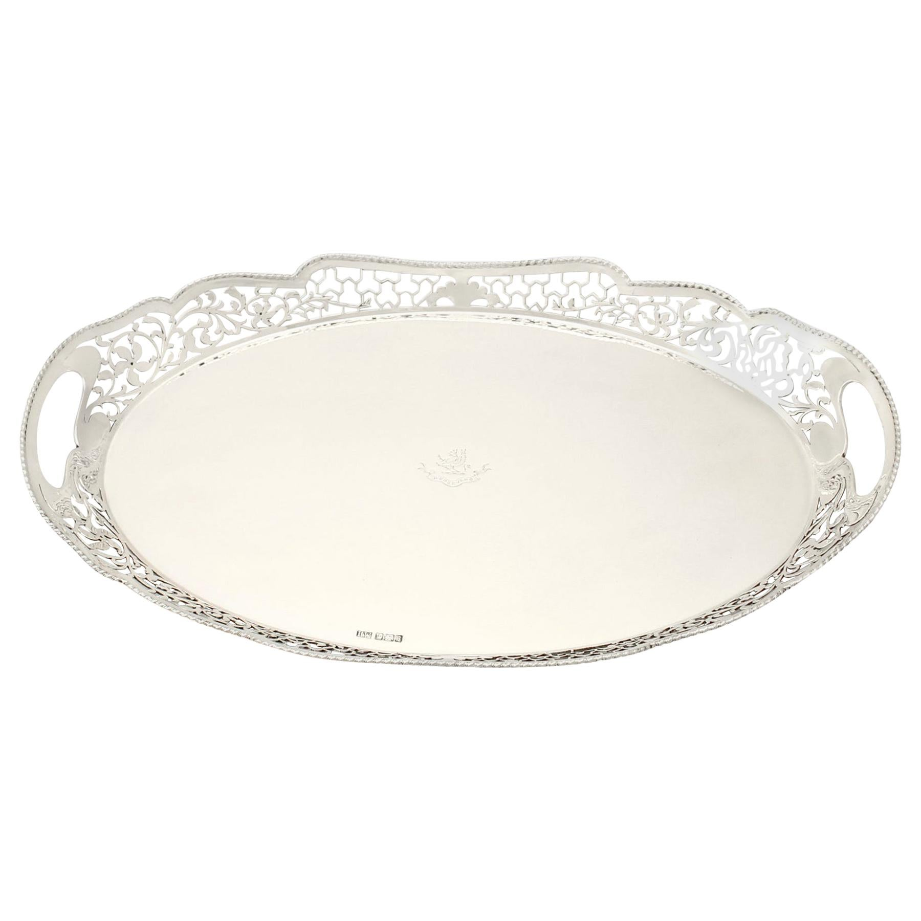 Antique 1910 Edwardian English Sterling Silver Gallery Tray