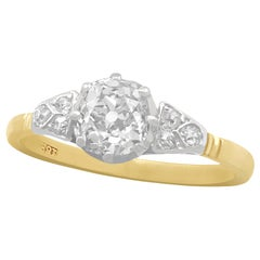 Antique 1910s 1.16 Carat Diamond and Yellow Gold Solitaire Engagement Ring