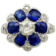 Antique 1910s 1.38 Carat Sapphire and Diamond Yellow Gold Ring