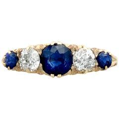 Antique 1910s 1.39 Carat Sapphire Diamond Yellow Gold Five-Stone Ring
