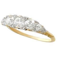 Antique 1910s 2.06 Carat Diamond Five-Stone Yellow Gold Ring