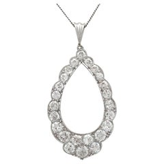 Antique 1910s 2.35 Carat Diamond and Platinum Pendant