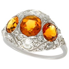 Antique 1910s 2.55 Carat Citrine and Diamond Gold Cocktail Ring