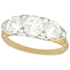 Antique 1910s 2.77 Carat Diamond and Yellow Gold Trilogy Ring