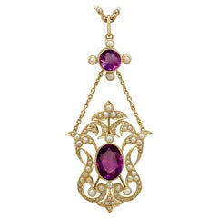 Antique 1910s 4.83 Carat Amethyst and Pearl Yellow Gold Pendant