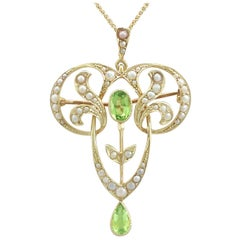 Antique 1910s Art Nouveau Peridot and Seed Pearl Yellow Gold Pendant / Brooch