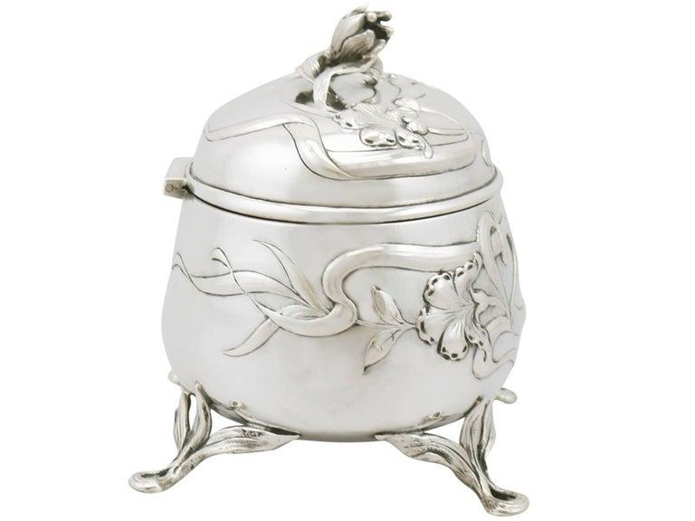 Art Nouveau Antique 1910s Austro-Hungarian Silver Tea Caddy For Sale
