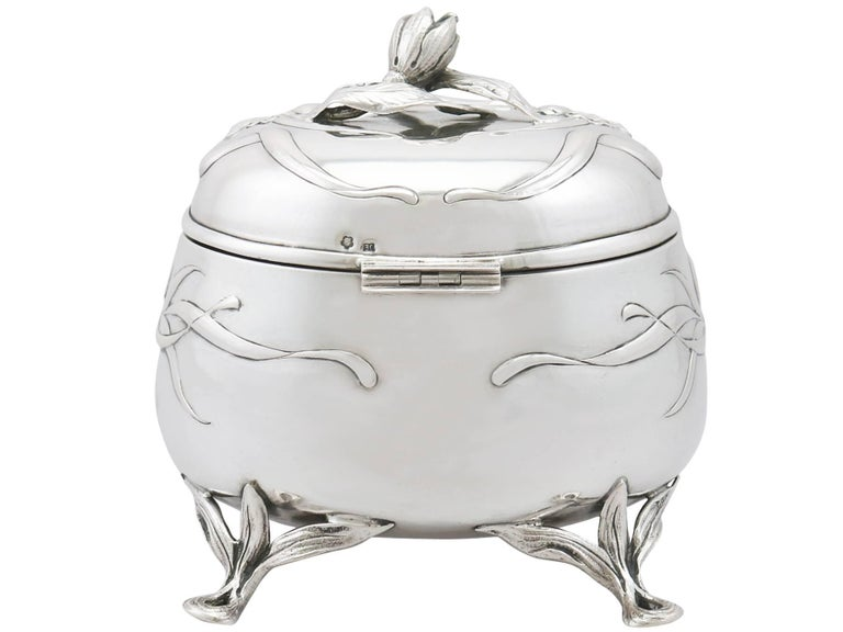 English Antique 1910s Austro-Hungarian Silver Tea Caddy For Sale