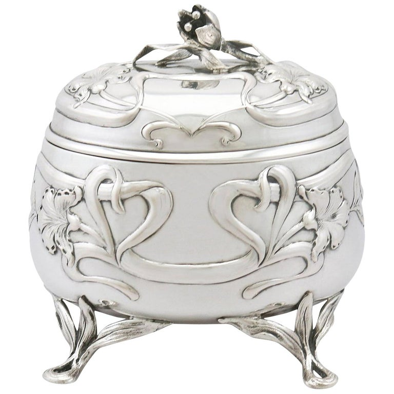 Antique 1910s Austro-Hungarian Silver Tea Caddy For Sale