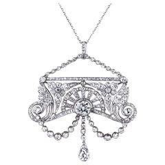Antique 1910s Belle Époque Diamond Platinum Pendant 4.50 Carat