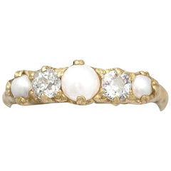 Antique 1910s Diamond and Pearl Yellow Gold Cocktail Ring