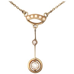 Antique 1910s Diamond and Pearl, Yellow Gold Pendant