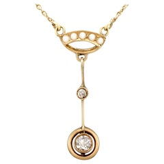 Antique 1910s Diamond and Pearl Yellow Gold Pendant