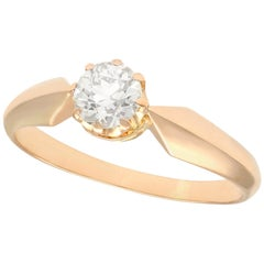Antique 1910s Diamond and Rose Gold Solitaire Ring