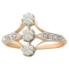 Antique 1910s Diamond and Rose Gold Trilogy Ring