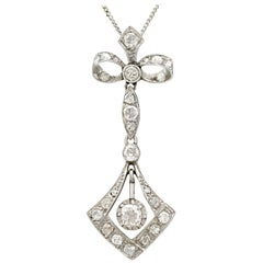 Antique 1910s Diamond and White Gold Pendant