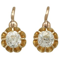 Antique 1910s Diamond and Yellow Gold Drop Earrings