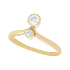 Antique 1910s Diamond Yellow Gold Cocktail Ring