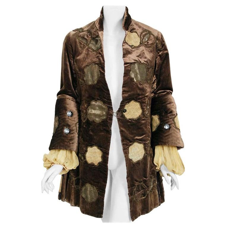 Antique 1910's Edwardian Brown Velvet & Gold Lamé Wide Cuff Theatrical Jacket  For Sale