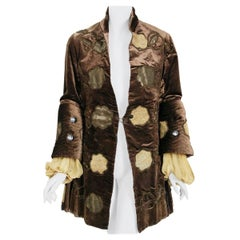 Antique 1910's Edwardian Brown Velvet & Metallic Gold Lamé Wide-Cuff Jacket