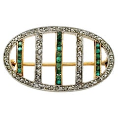 Antique 1910s Emerald and Diamond Yellow Gold Brooch