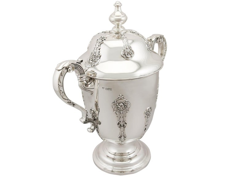 British Antique 1910s George V Sterling Silver Presentation Cup and Cover For Sale