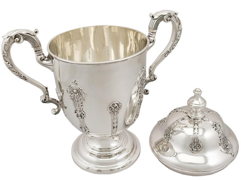 Early 20th Century Antique 1910s George V Sterling Silver Presentation Cup and Cover For Sale