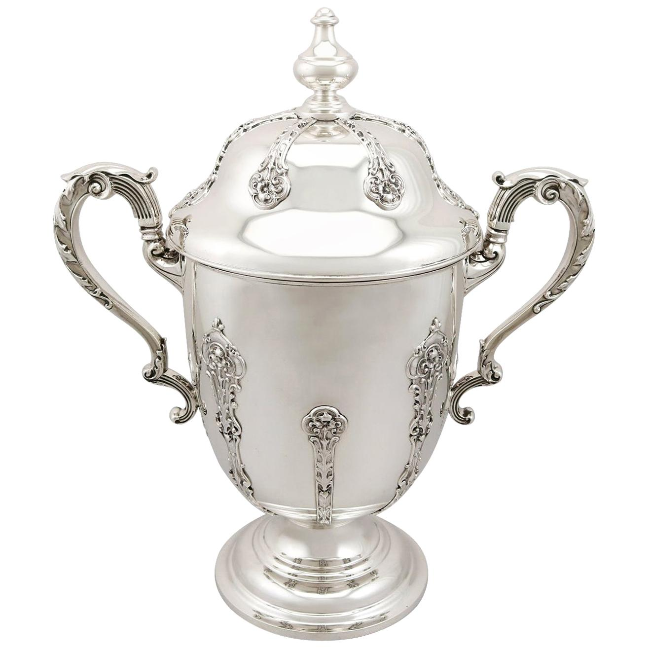 Antique 1910s George V Sterling Silver Presentation Cup and Cover