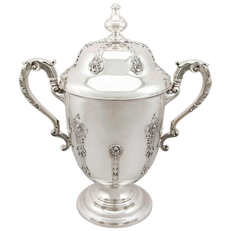Antique 1910s George V Sterling Silver Presentation Cup and Cover For Sale
