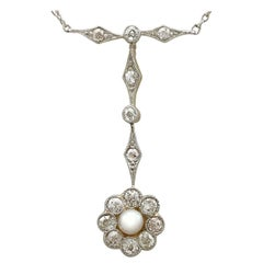 Antique 1910s Pearl and Diamond Yellow Gold and Platinum Necklace