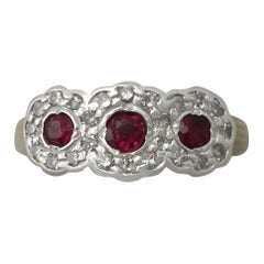 Antique 1910s Ruby and Diamond Yellow Gold Three-Stone Cocktail Ring