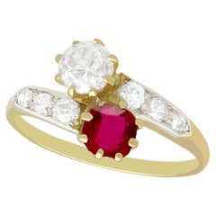 Antique 1910s Ruby Diamond Yellow Gold Twist Ring