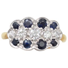 Antique 1910s Sapphire and Diamond Yellow Gold Cluster Ring