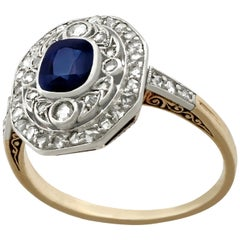 Antique 1910s Sapphire and Diamond Yellow Gold Engagement Ring