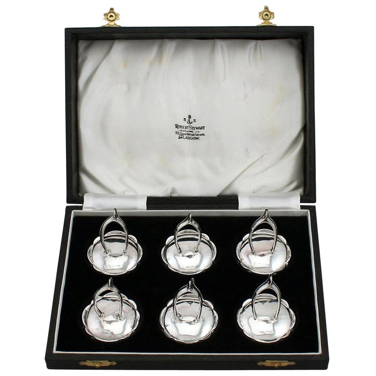 Antique 1910s Set of Six Sterling Silver Menu / Card Holders For Sale
