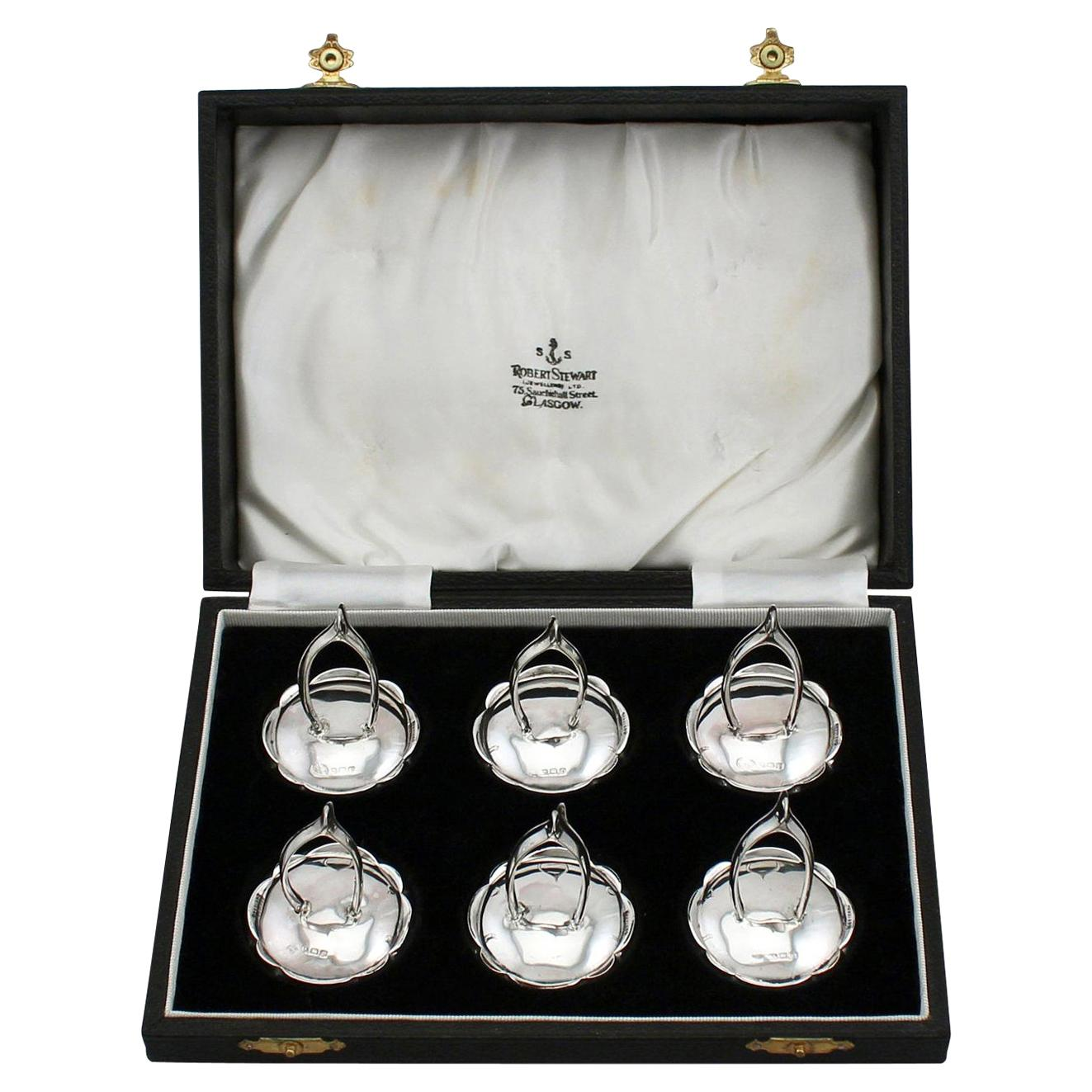 Antique 1910s Set of Six Sterling Silver Menu / Card Holders