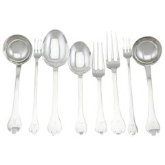 Antique 1910s Sterling Silver Canteen of Cutlery for 10 Persons