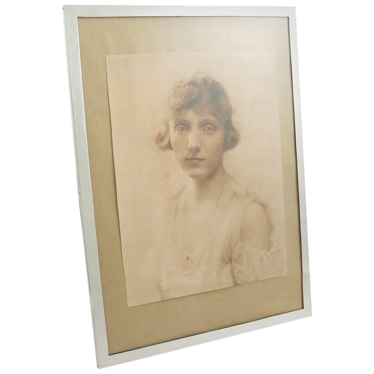 Antique 1910s Sterling Silver Photograph Frame For Sale