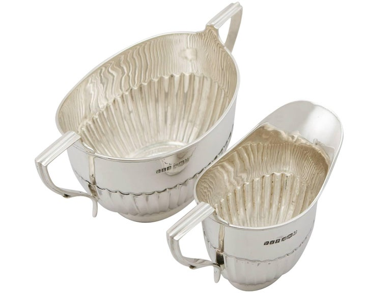 Antique 1910s Sterling Silver Three-Piece Tea Service For Sale 6