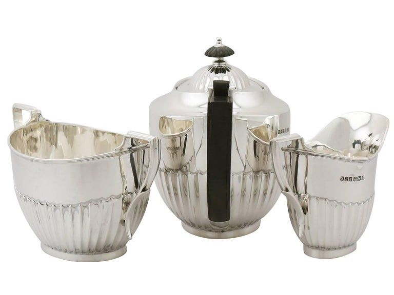Queen Anne Antique 1910s Sterling Silver Three-Piece Tea Service For Sale